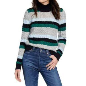 1901 Women's Blue Stripe Cable Stitch Turtleneck